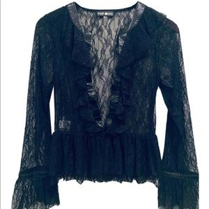 Victorian Black Lace Blouse S/M